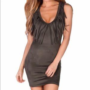 Dresses & Skirts - Black fitted fringe dress
